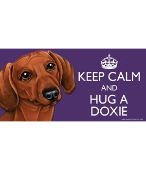 Keep Calm and Hug a Dachshund (red-brown