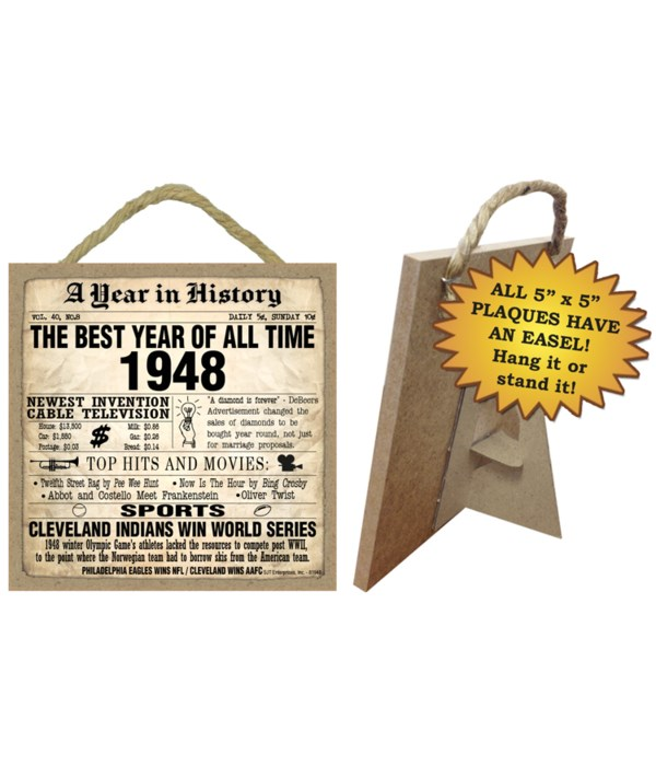 1948 A Year in History Plaques 5x5 sign