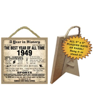 1949 A Year in History Plaques 5x5 sign