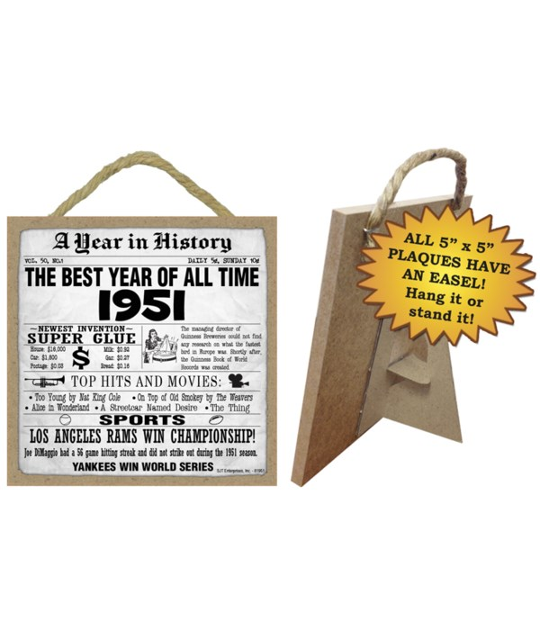 1951 A Year in History Plaques 5x5 sign