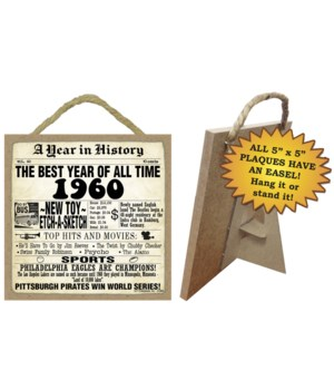 1960 A Year in History Plaques 5x5 sign