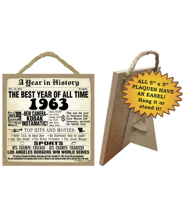 1963 A Year in History Plaques 5x5 sign
