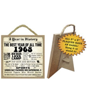 1968 A Year in History Plaques 5x5 sign