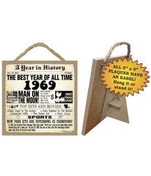 1969 A Year in History Plaques 5x5 sign