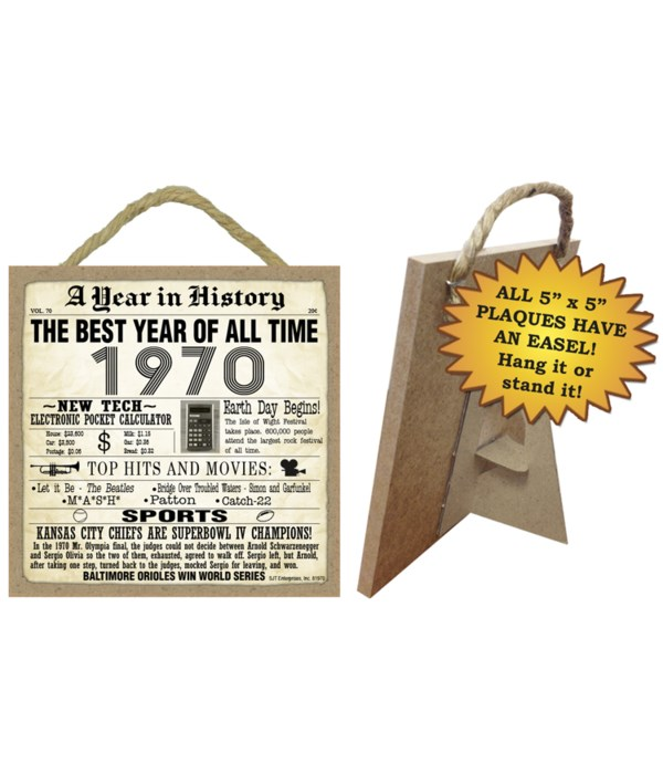 1970 A Year in History Plaques 5x5 sign