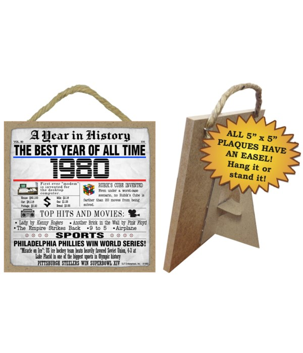 1980 A Year in History Plaques 5x5 sign