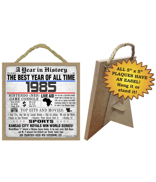 1985 A Year in History Plaques 5x5 sign