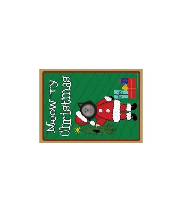 Meow-ry Christmas-black Santa Cat with t