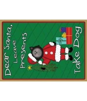 Dear Santa-black santa cat with tree - g