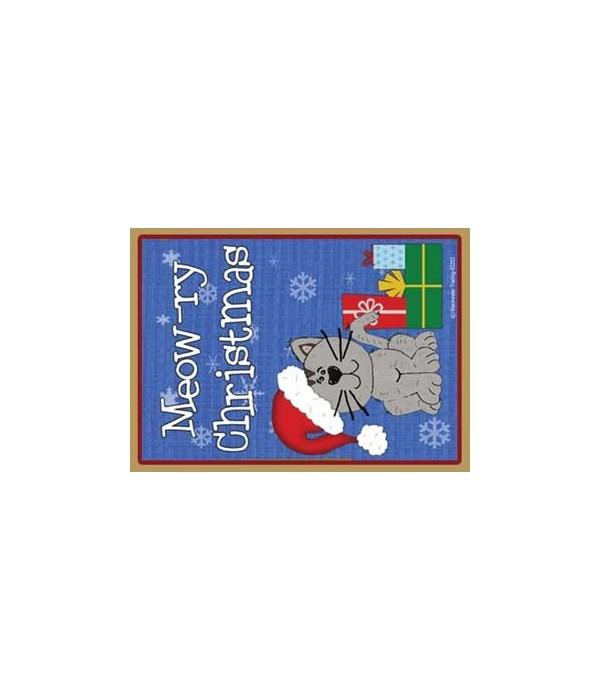 Meowry Christmas-grey Santa Cat with gif