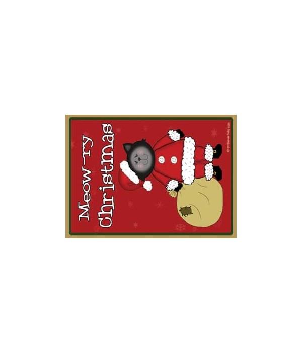 Meowry Christmas-black Santa Cat with ba