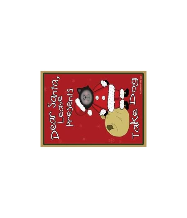 Dear Santa-black Santa cat with bag - re