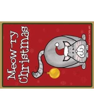 Meowry Christmas-grey santa cat with orn