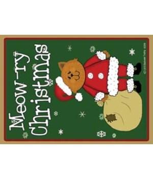Meowry Christmas - yellow santa cat with