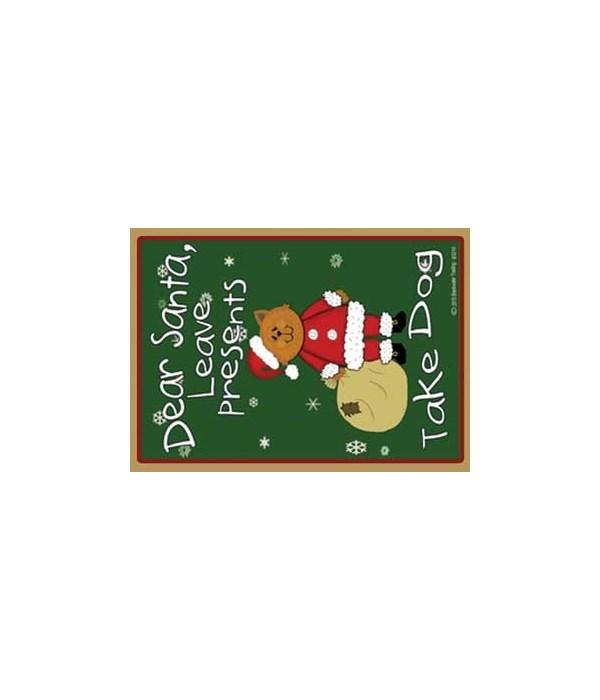Dear Santa -yellow santa cat with bag -
