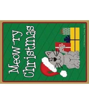 Meowry Christmas -grey santa cat with gi