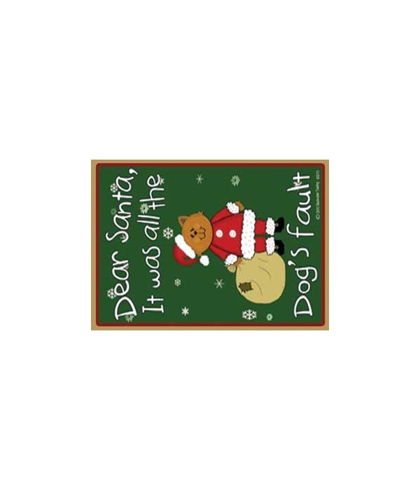Dogs fault-yellow santa cat with bag-gre