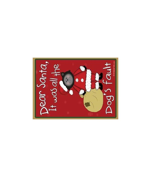 Dogs fault-black santa cat with bag-red