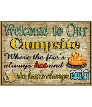 Welcome to our campsite - beer's cold Ma