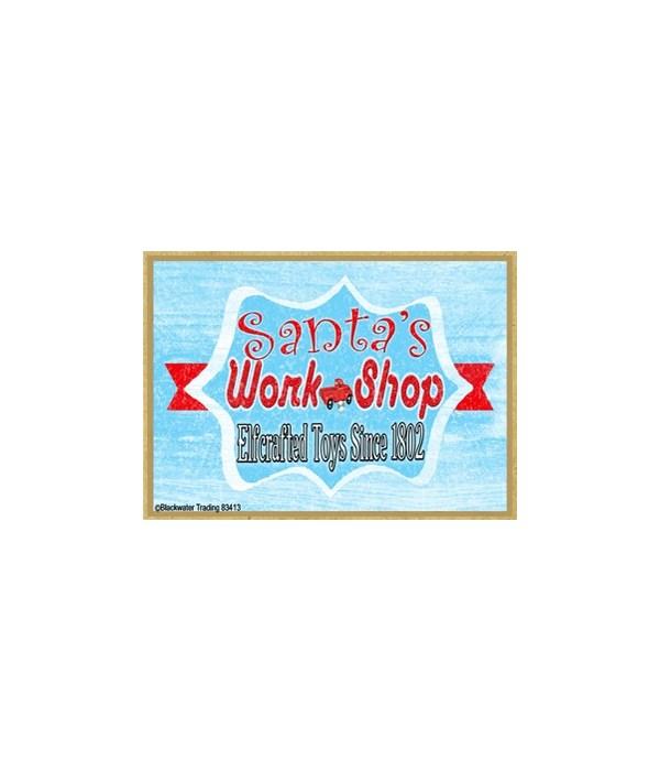 Retro Santa's Workshop Magnet