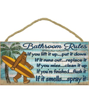 Bigfoot bathroom rules spray it Palm tree