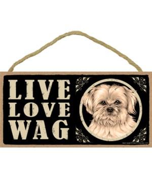 Lhasa Apso Live Love Wag 5x10 plaque
