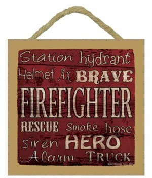 Firefighter Subway Style 5 x 5 sign
