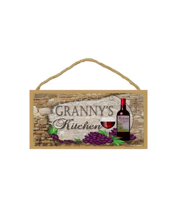 Granny's Kitchen Wine Bottle 5 x 10 sign