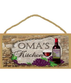 Oma's Kitchen Wine Bottle 5 x 10 sign