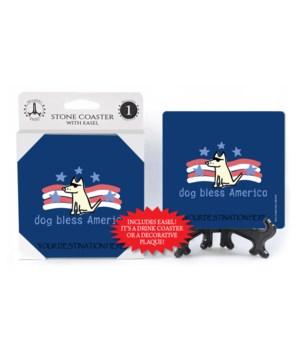 Dog Bless America - Patriotic blue bkgd
