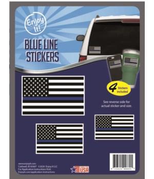 Blue Line U.S.A. Flag Stickers