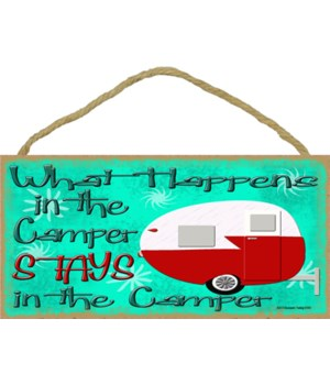 "What happens in the camper - retro 5"" x"