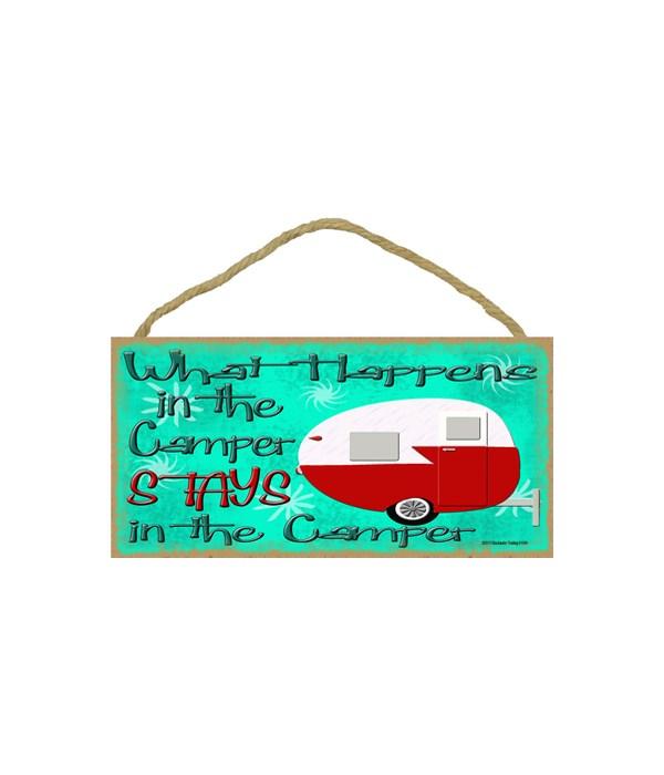 "What happens in the camper - retro 5"" x"