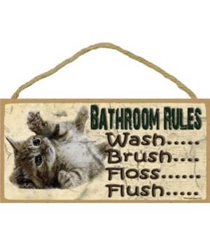 """*Kitten-Bathroom Rules 5"""" x 10"""" wood plaq"""