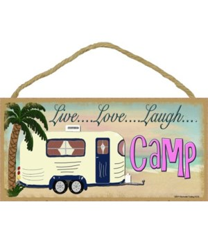 "Live Love laugh Camp - beach 5"" x 10"" wo"