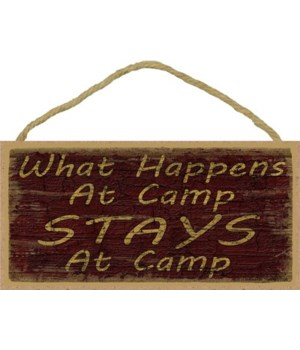 "What happens at camp 5"" x 10"" wood plaqu"