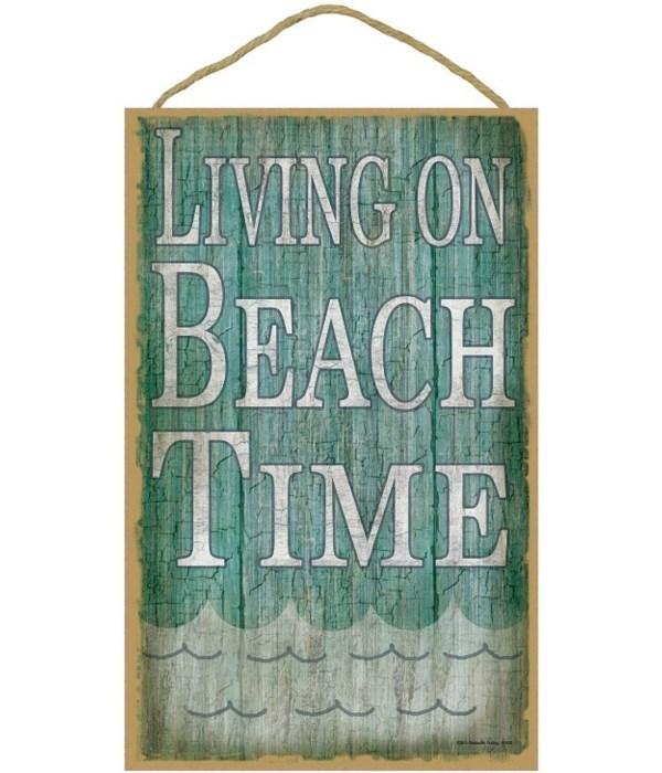 "Living on beach time 10"" x 16"" wood plaq"