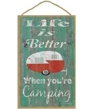 Life is better camping - teardrop (green