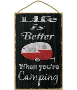 Life is better camping - teardrop (black