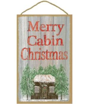 "Merry Cabin Christmas 10"" x 16"" wood pla"