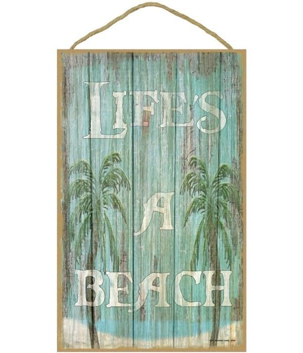 "Life's a beach 10"" x 16"" wood plaque, si"