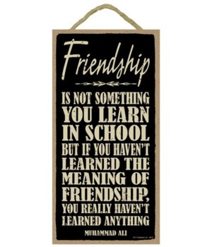 Friendship is not something you learn in