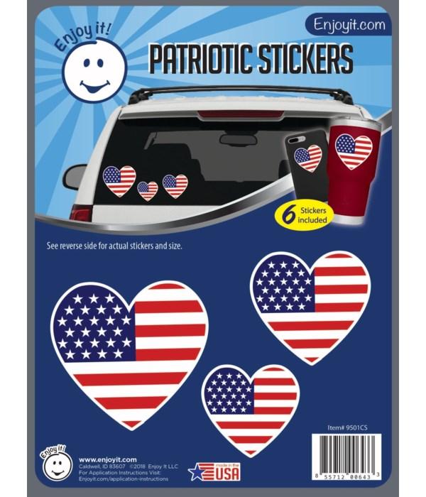 Hearts U.S.A. Flag Stickers