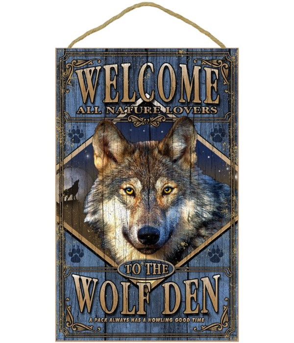 Wolf Den Welcome 10x16 sign