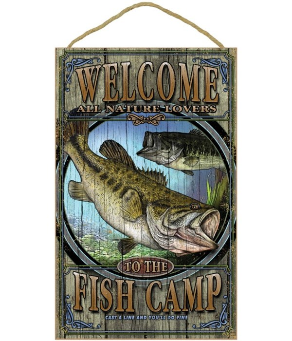 Fish camp (Bass) welcome 10x16 sign