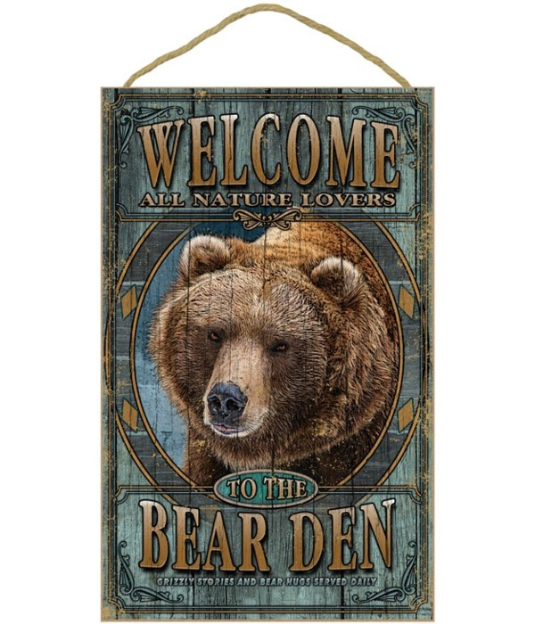 Bear, Grizzly Den welcome 10x16 sign