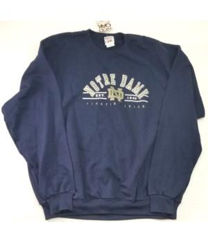 Notre Dame blue sweatshirt/silver logo