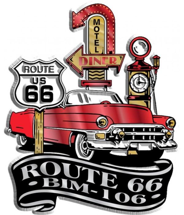 Cadillac/Rte 66 imprint magnet