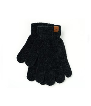 Black Soft Chenille Gloves 6PC