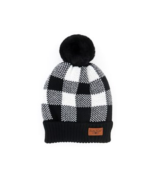 Black & White Buffalo Plad Pom Hats 6PC